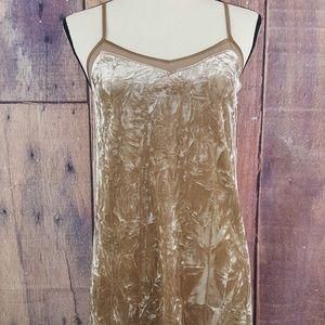 Kensie Velvet Taupe Shear Trim Sheath Slip Dress